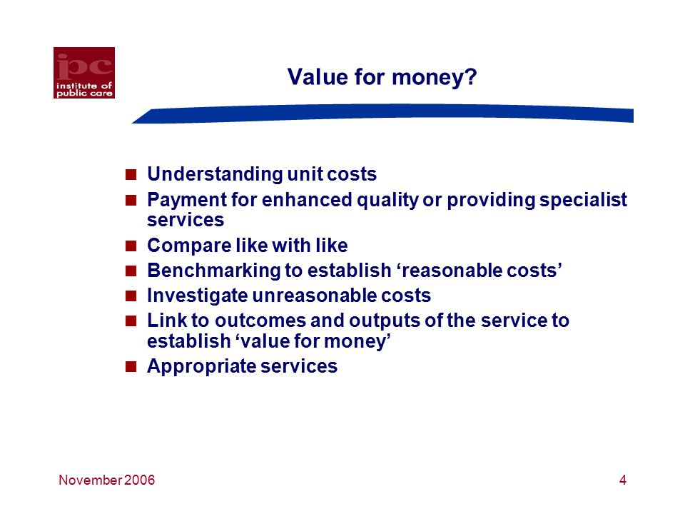 November 20065 Assessing existing services – spectrum 1 Good alignment with needs Poor qualityGood quality Poor alignment with needs