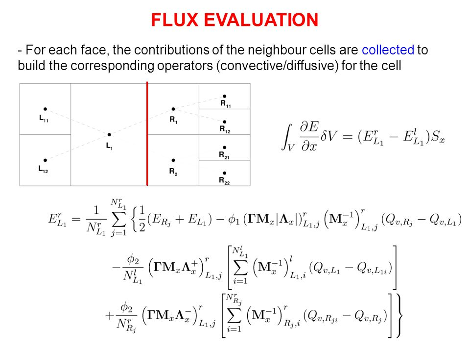 - For each face, the contributions of the neighbour cells are collected to build the corresponding operators (convective/diffusive) for the cell FLUX