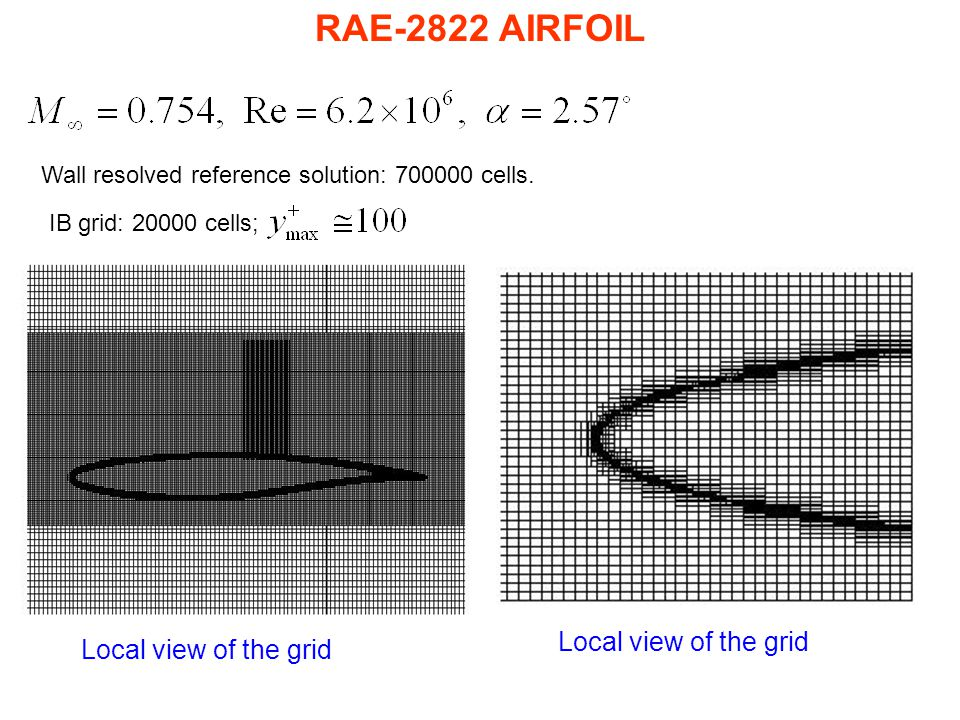 RAE-2822 AIRFOIL Local view of the grid Wall resolved reference solution: 700000 cells. IB grid: 20000 cells;