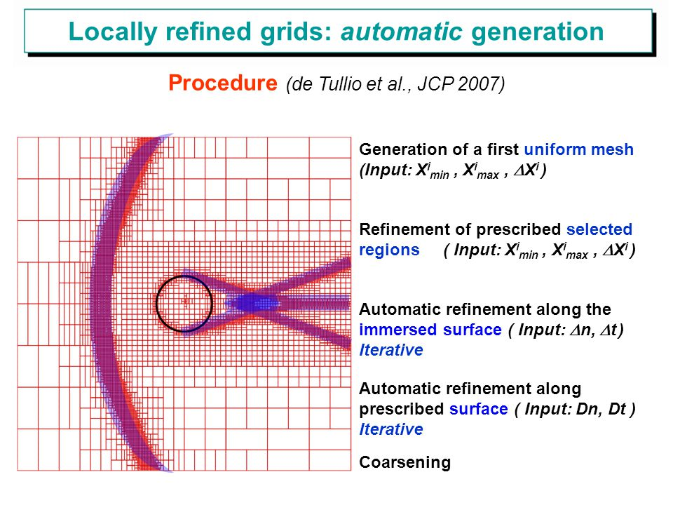 Procedure (de Tullio et al., JCP 2007) Generation of a first uniform mesh (Input: X i min, X i max,  X i ) Refinement of prescribed selected regions ( Input: X i min, X i max,  X i ) Automatic refinement along the immersed surface ( Input:  n,  t ) Iterative Automatic refinement along prescribed surface ( Input: Dn, Dt ) Iterative Coarsening Locally refined grids: automatic generation