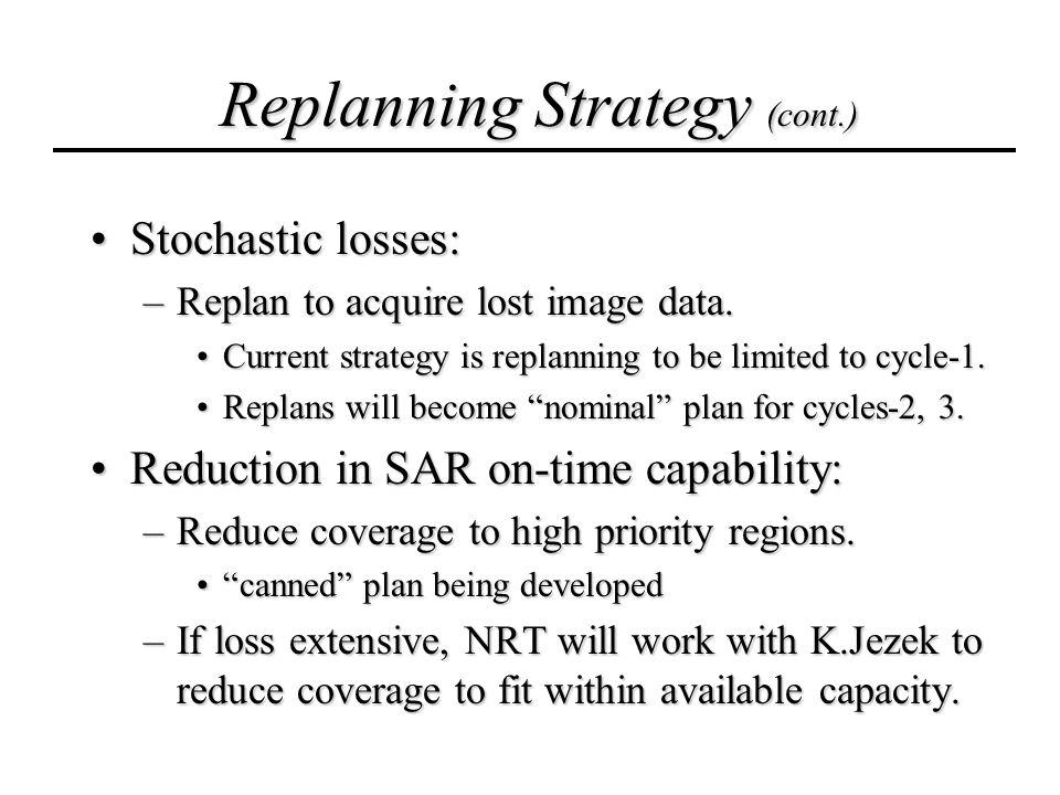 Replanning Strategy (cont.) Stochastic losses:Stochastic losses: –Replan to acquire lost image data.