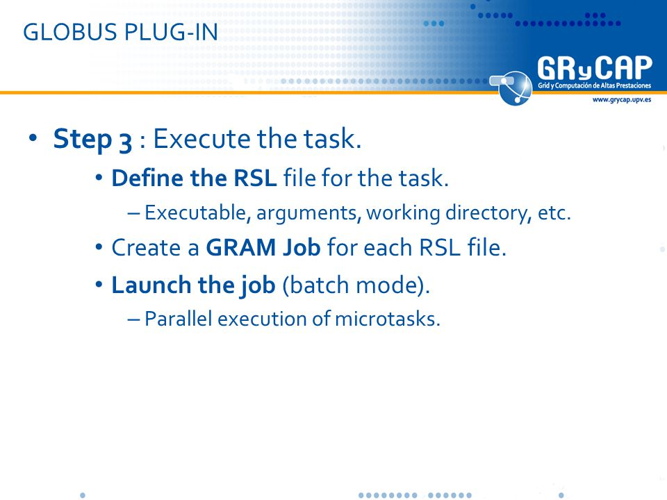 GLOBUS PLUG-IN Step 3 : Execute the task. Define the RSL file for the task.