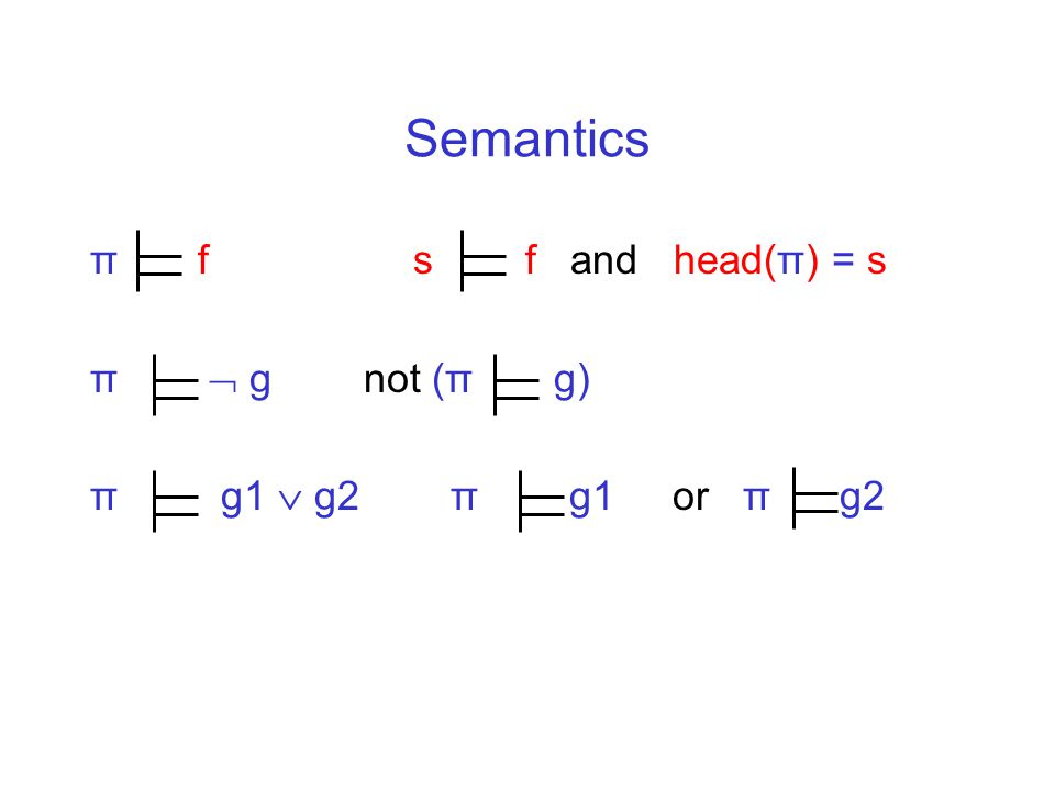 Semantics π f s f and head(π) = s π  g not (π g) π g1  g2 π g1 or π g2