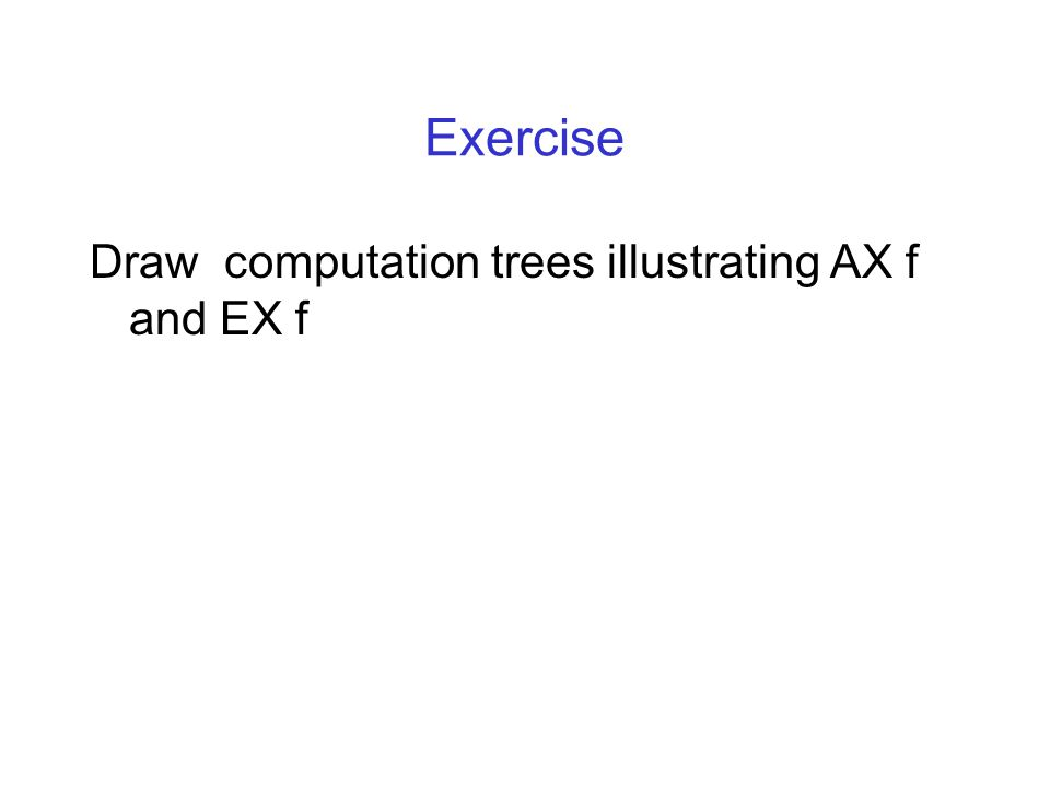 Exercise Draw computation trees illustrating AX f and EX f