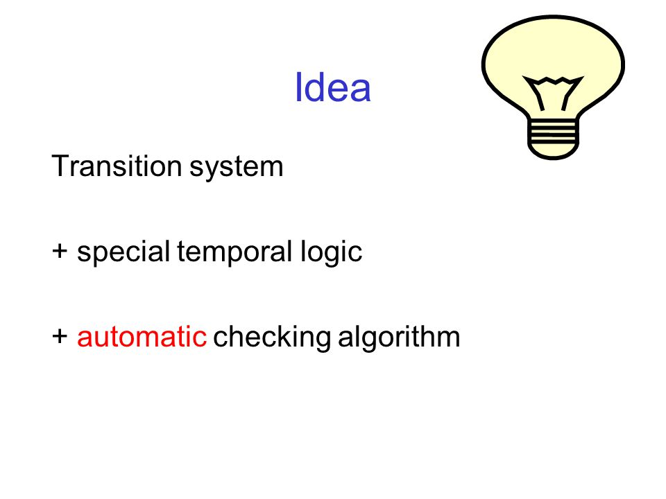 Idea Transition system + special temporal logic + automatic checking algorithm