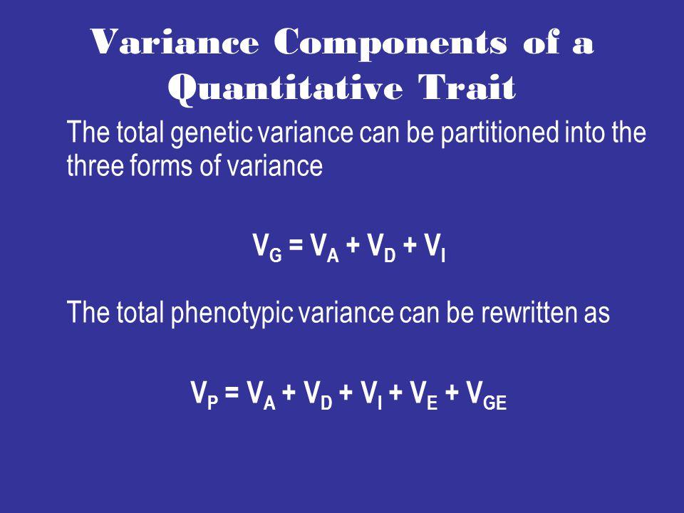 Variance Components of a Quantitative Trait The total genetic variance can be partitioned into the three forms of variance V G = V A + V D + V I The total phenotypic variance can be rewritten as V P = V A + V D + V I + V E + V GE