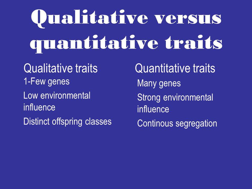 Qualitative versus quantitative traits 1-Few genes Low environmental influence Distinct offspring classes Many genes Strong environmental influence Continous segregation Qualitative traitsQuantitative traits