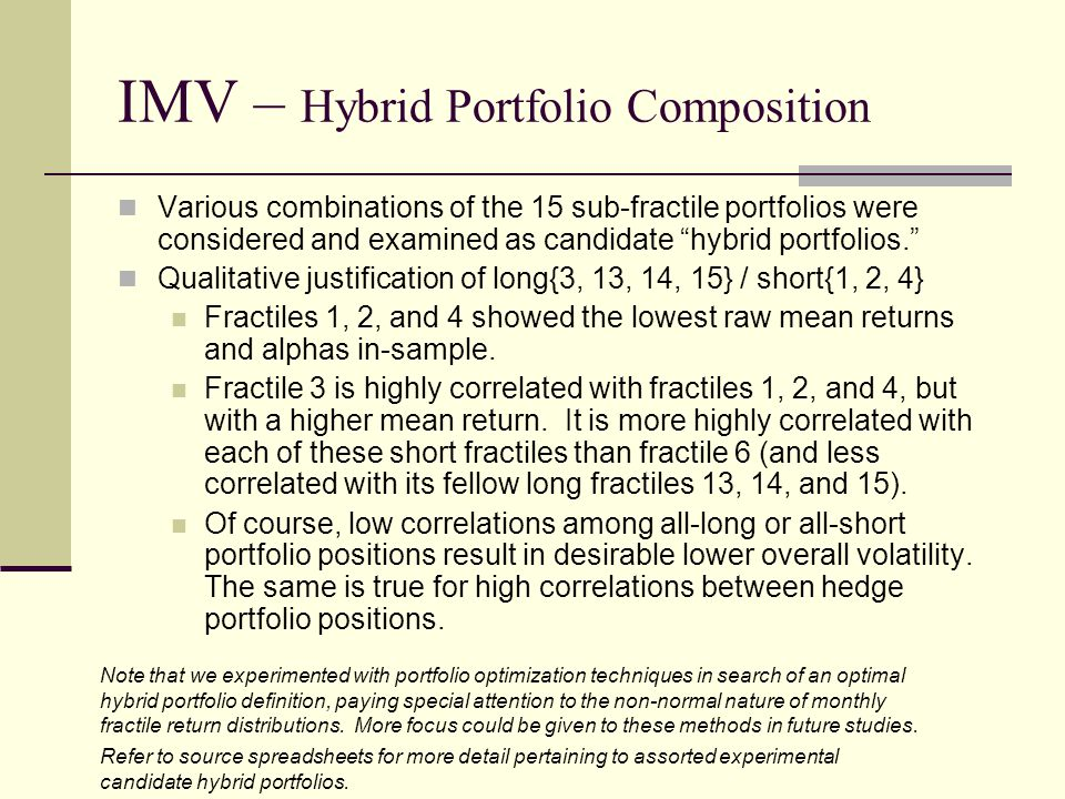 """IMV – Hybrid Portfolio Composition Various combinations of the 15 sub-fractile portfolios were considered and examined as candidate """"hybrid portfolios"""