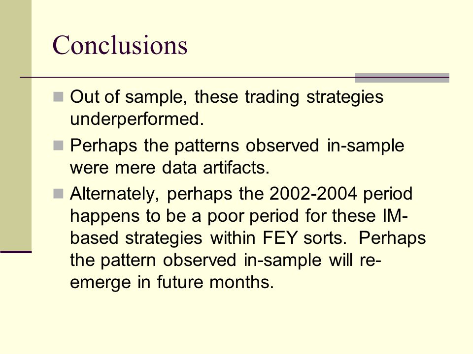 Conclusions Out of sample, these trading strategies underperformed. Perhaps the patterns observed in-sample were mere data artifacts. Alternately, per