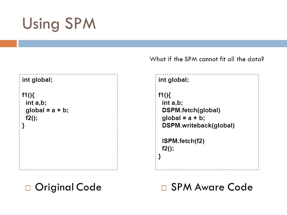 Using SPM  Original Code  SPM Aware Code int global; f1(){ int a,b; global = a + b; f2(); } int global; f1(){ int a,b; DSPM.fetch(global) global = a + b; DSPM.writeback(global) ISPM.fetch(f2) f2(); } What if the SPM cannot fit all the data