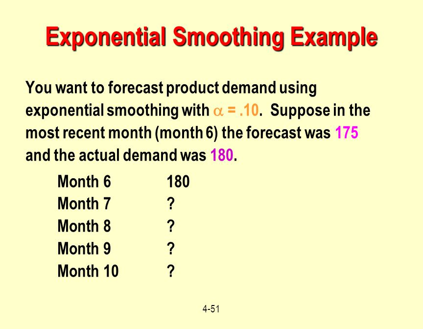 4-51 You want to forecast product demand using exponential smoothing with  =.10. Suppose in the most recent month (month 6) the forecast was 175 and