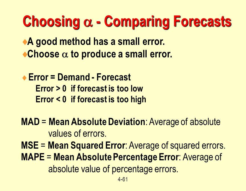 4-61 Choosing  - Comparing Forecasts  A good method has a small error.  Choose  to produce a small error.  Error = Demand - Forecast Error > 0 if