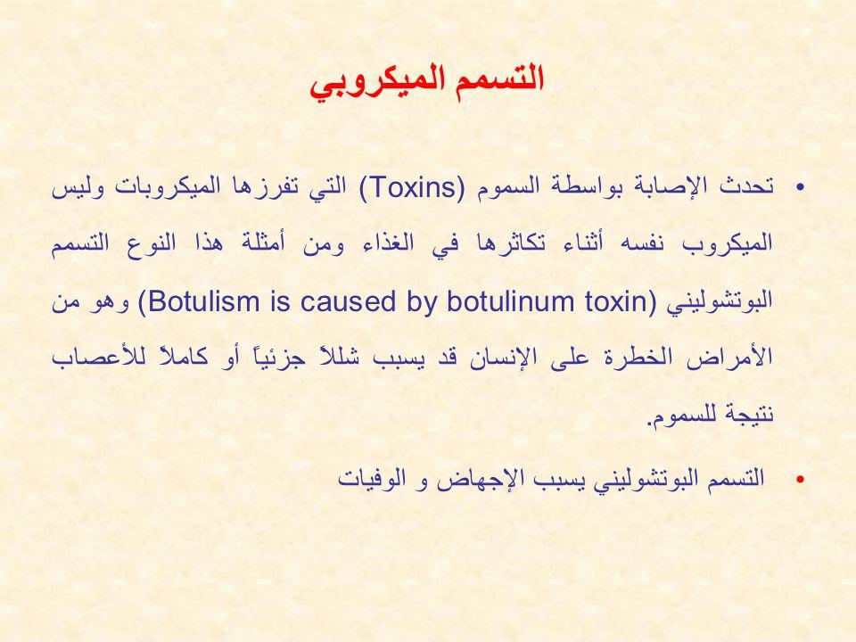التسمم الميكروبي تحدث الإصابة بواسطة السموم (Toxins) التي تفرزها الميكروبات وليس الميكروب نفسه أثناء تكاثرها في الغذاء ومن أمثلة هذا النوع التسمم البوتشوليني (Botulism is caused by botulinum toxin) وهو من الأمراض الخطرة على الإنسان قد يسبب شللاً جزئياً أو كاملاً للأعصاب نتيجة للسموم.