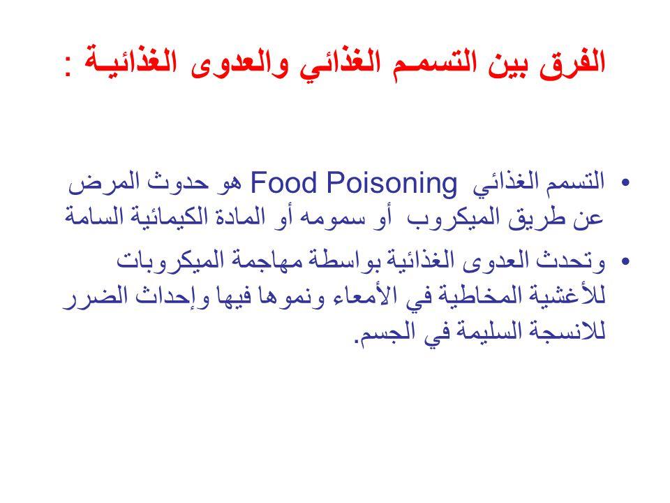 الفرق بين التسمـم الغذائي والعدوى الغذائيـة : التسمم الغذائي Food Poisoning هو حدوث المرض عن طريق الميكروب أو سمومه أو المادة الكيمائية السامة وتحدث ا