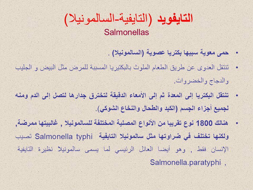التايفويد (التايفية-السالمونيلا) Salmonellas حمى معوية سببها بكتريا عصوية (السالمونيلا). تنتقل العدوى عن طريق الطعام الملوث بالبكتيريا المسببة للمرض م