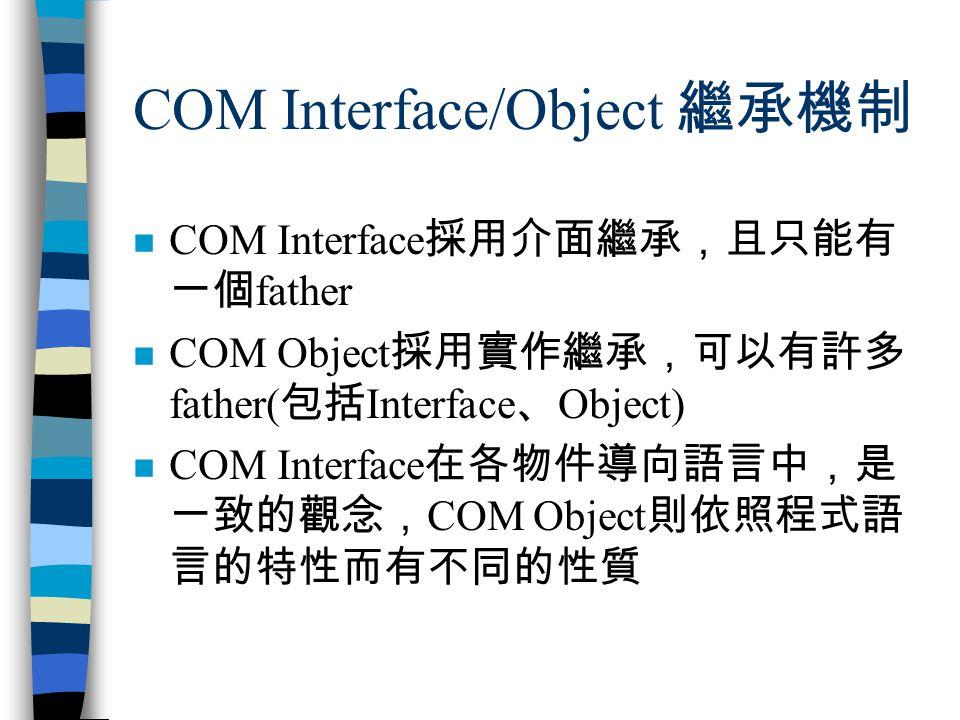 COM Interface/Object 繼承機制 n COM Interface 採用介面繼承,且只能有 一個 father n COM Object 採用實作繼承,可以有許多 father( 包括 Interface 、 Object) n COM Interface 在各物件導向語言中,是 一致的觀念, COM Object 則依照程式語 言的特性而有不同的性質