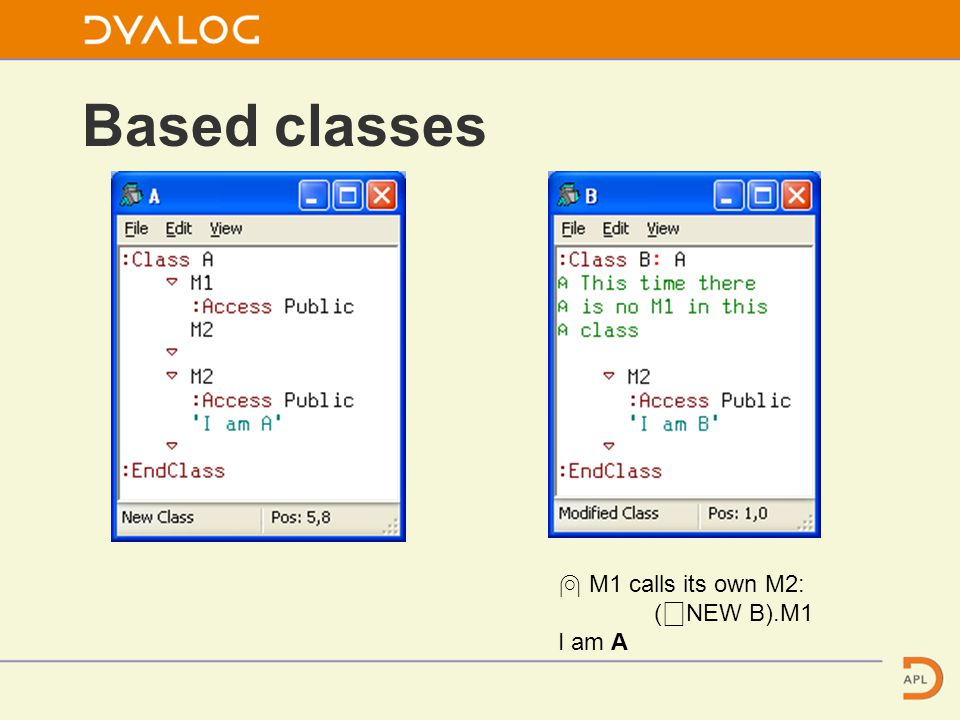 Based classes ⍝ M1 calls its own M2: ( ⎕ NEW B).M1 I am A