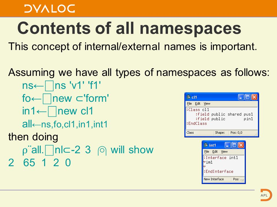 Contents of all namespaces This concept of internal/external names is important.