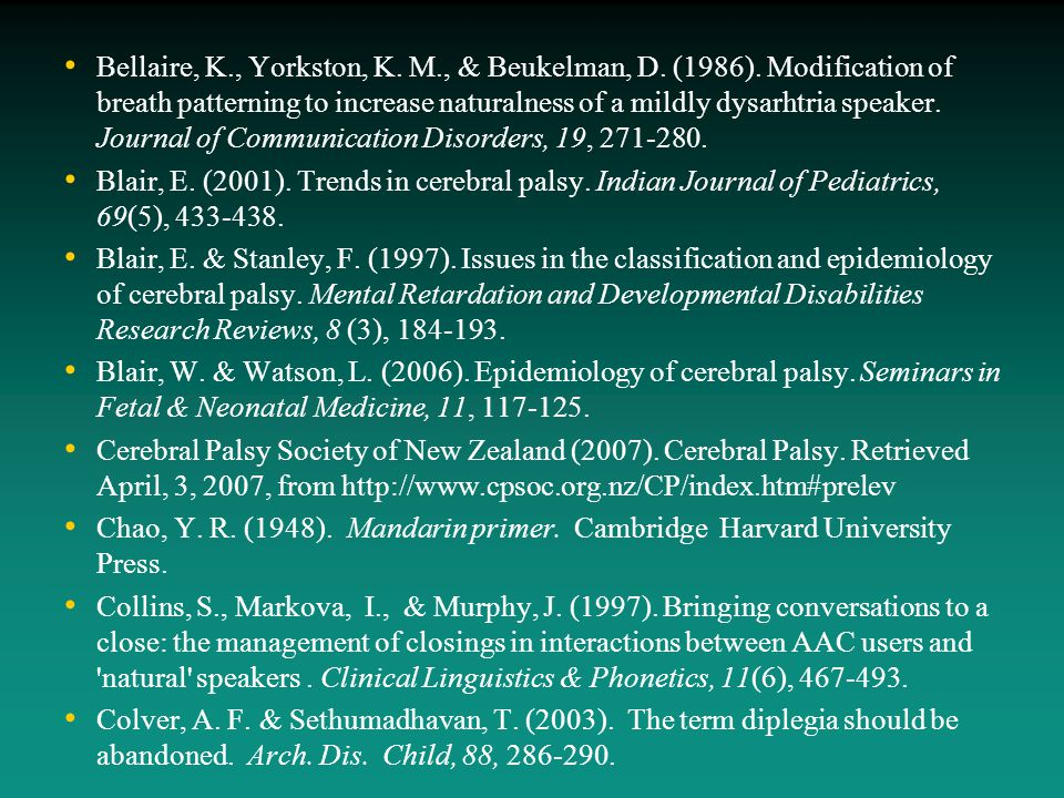 Bellaire, K., Yorkston, K. M., & Beukelman, D. (1986). Modification of breath patterning to increase naturalness of a mildly dysarhtria speaker. Journ
