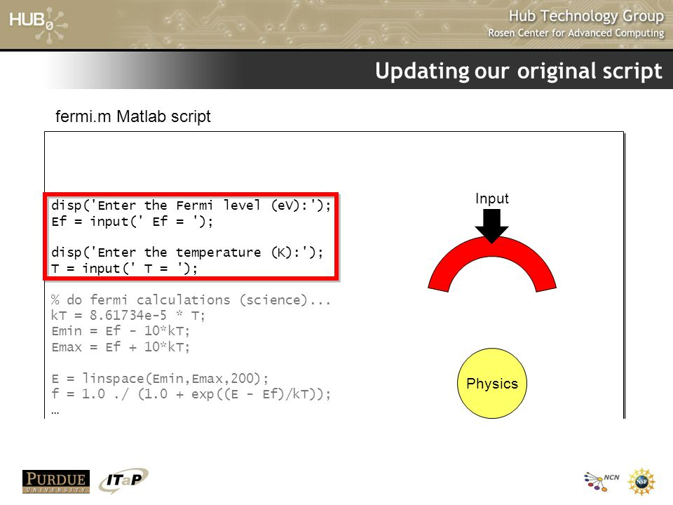 Updating our original script disp('Enter the Fermi level (eV):'); Ef = input(' Ef = '); disp('Enter the temperature (K):'); T = input(' T = '); % do f