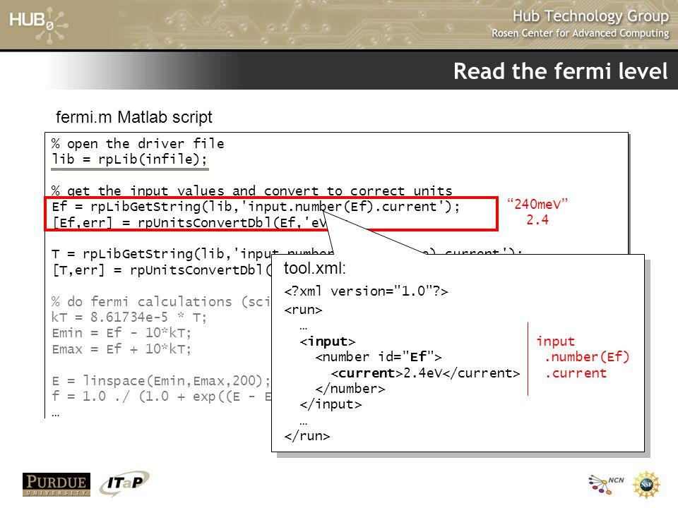 Read the fermi level % open the driver file lib = rpLib(infile); % get the input values and convert to correct units Ef = rpLibGetString(lib,'input.nu
