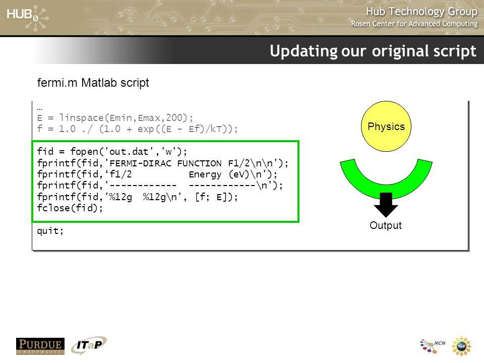 Updating our original script … E = linspace(Emin,Emax,200); f = 1.0./ (1.0 + exp((E - Ef)/kT)); fid = fopen('out.dat','w'); fprintf(fid,'FERMI-DIRAC F