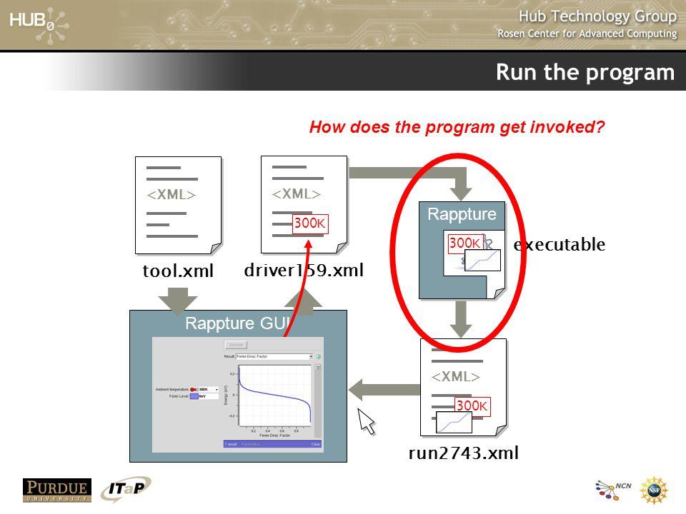 Run the program tool.xml Rappture GUI driver159.xml 300K run2743.xml 300K executable Rappture 300K How does the program get invoked?