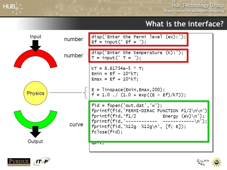 What is the interface? disp('Enter the Fermi level (eV):'); Ef = input(' Ef = '); disp('Enter the temperature (K):'); T = input(' T = '); kT = 8.61734