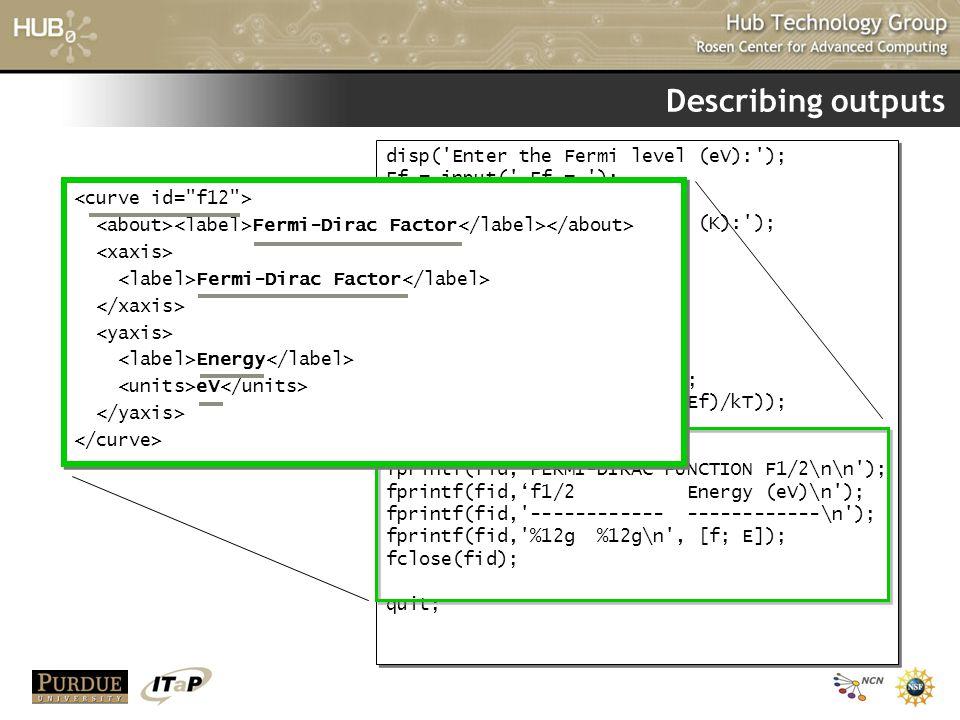 Describing outputs disp('Enter the Fermi level (eV):'); Ef = input(' Ef = '); disp('Enter the temperature (K):'); T = input(' T = '); kT = 8.61734e-5