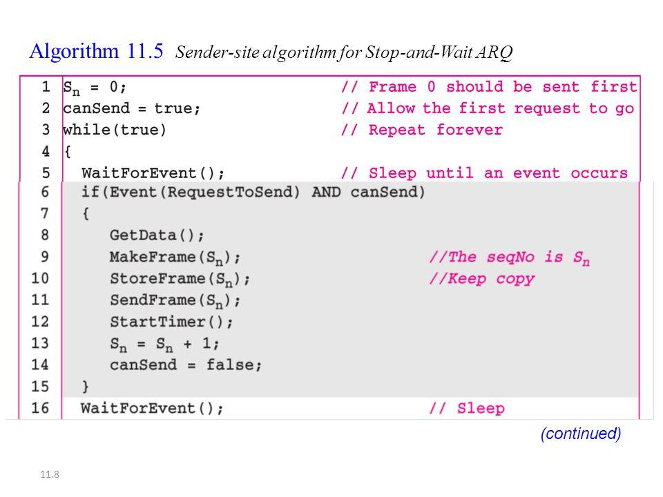 11.8 Algorithm 11.5 Sender-site algorithm for Stop-and-Wait ARQ (continued)