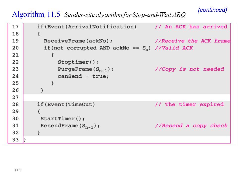 11.9 Algorithm 11.5 Sender-site algorithm for Stop-and-Wait ARQ (continued)