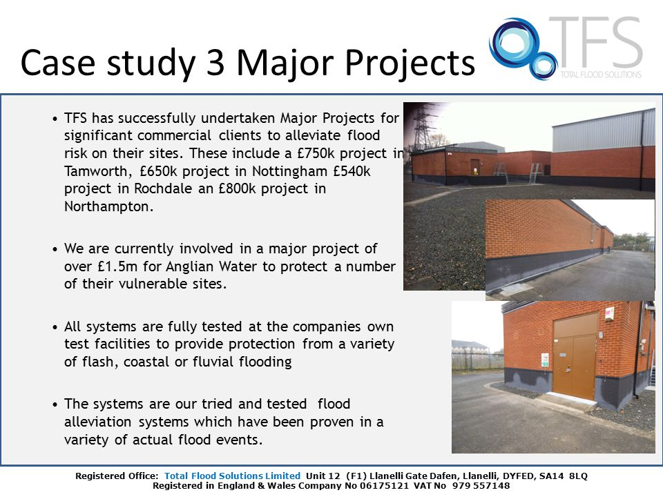 TFS has successfully undertaken Major Projects for significant commercial clients to alleviate flood risk on their sites.