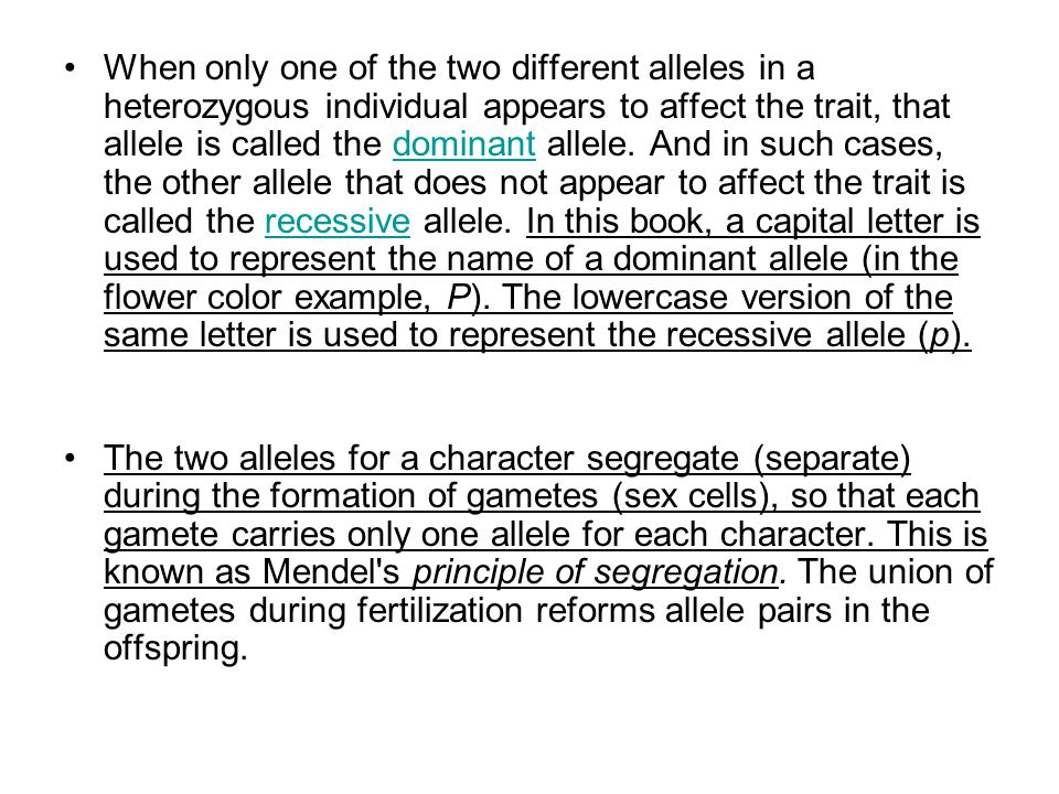 When only one of the two different alleles in a heterozygous individual appears to affect the trait, that allele is called the dominant allele.