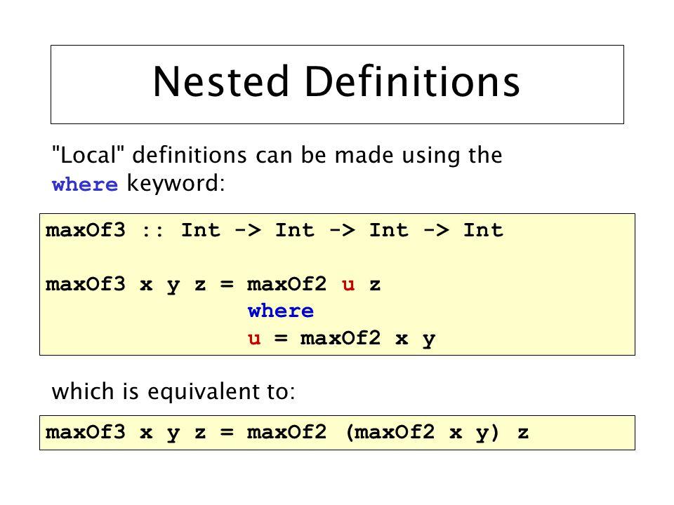 Evaluating Recursive Functions length [] = 0 length (x : xs) = 1 + (length xs) length (1 : 2 : 4 : [])  { x  1, xs  2 : 4 : [] } 1 + length (2 : 4 : [])  { x  2, xs  4 : [] } 1 + 1 + length (4 : [])  { x  4, xs  [] } 1 + 1 + 1 + length []  { } 1 + 1 + 1 + 0