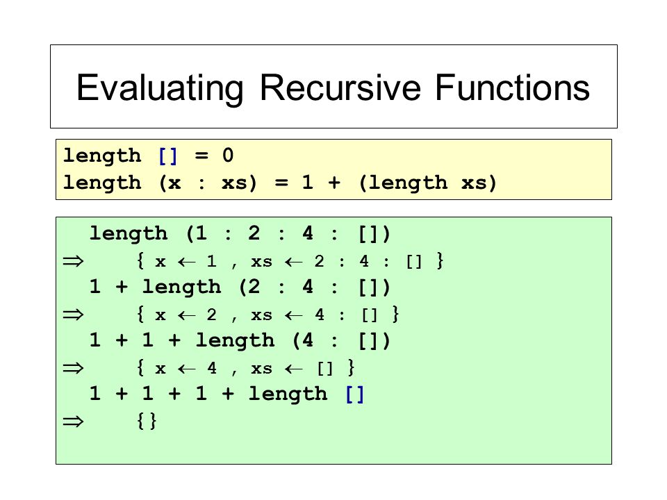 Evaluating Recursive Functions length [] = 0 length (x : xs) = 1 + (length xs) length (1 : 2 : 4 : [])  { x  1, xs  2 : 4 : [] } 1 + length (2 : 4