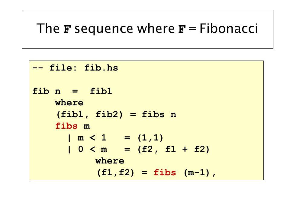 The F sequence where F = Fibonacci -- file: fib.hs fib n = fib1 where (fib1, fib2) = fibs n fibs m   m < 1 = (1,1)   0 < m = (f2, f1 + f2) where (f1,f2) = fibs (m-1),