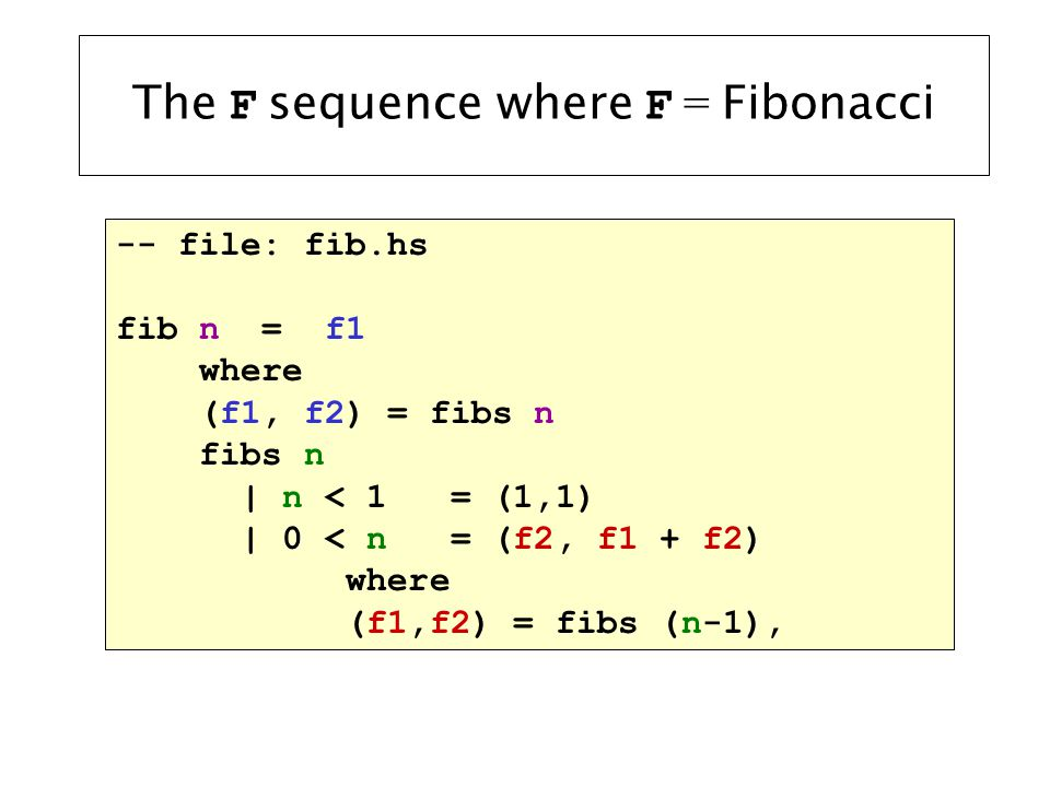 Local is Hidden Main> :l fib.hs... Main> fibs 5 ERROR - Undefined variable fibs Main>
