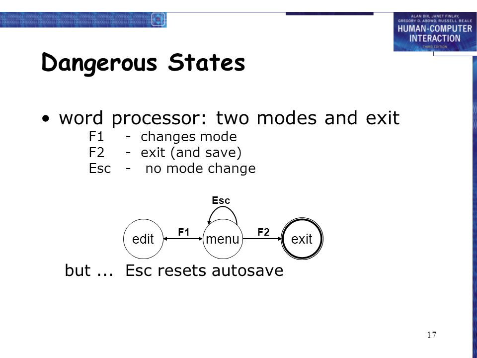 17 Dangerous States word processor: two modes and exit F1- changes mode F2- exit (and save) Esc- no mode change but...
