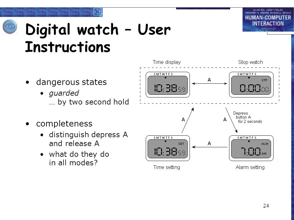 24 Digital watch – User Instructions dangerous states guarded … by two second hold completeness distinguish depress A and release A what do they do in all modes