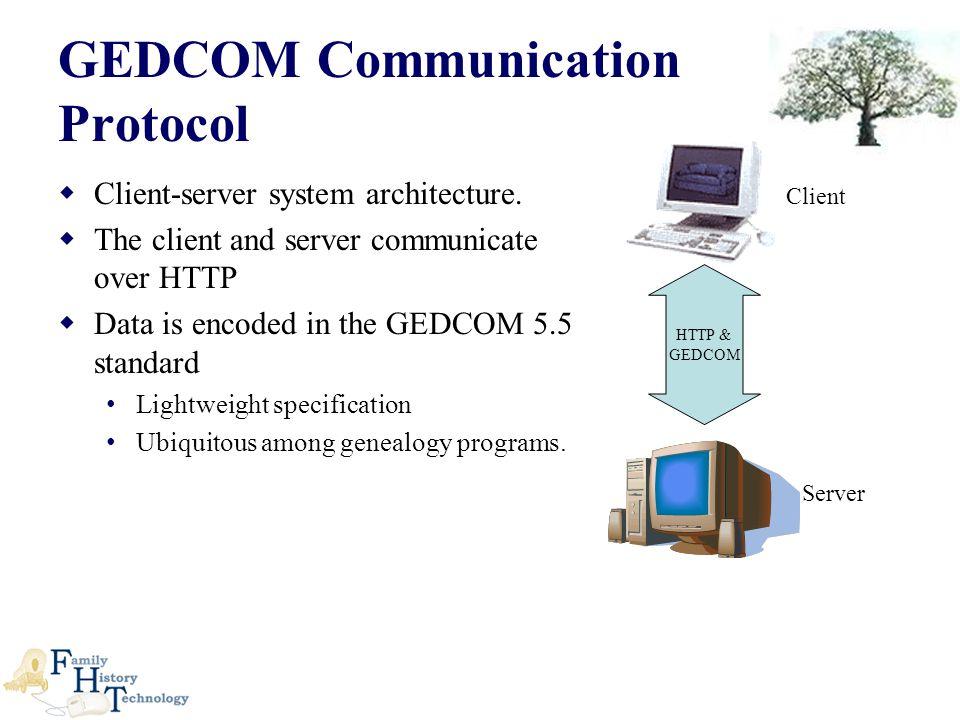 GEDCOM Communication Protocol  Client-server system architecture.