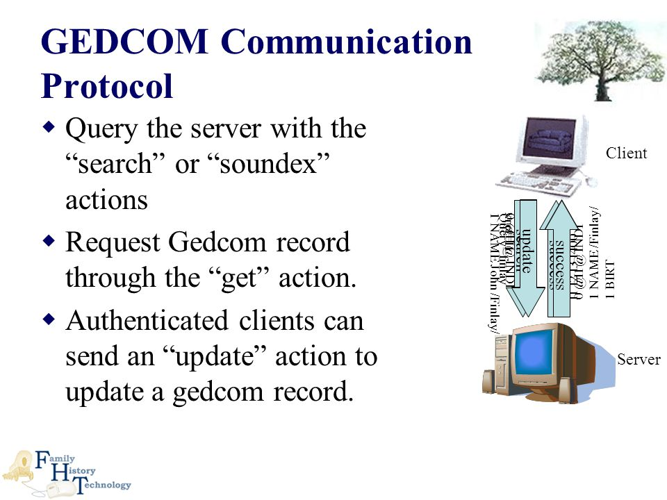  Query the server with the search or soundex actions  Request Gedcom record through the get action.
