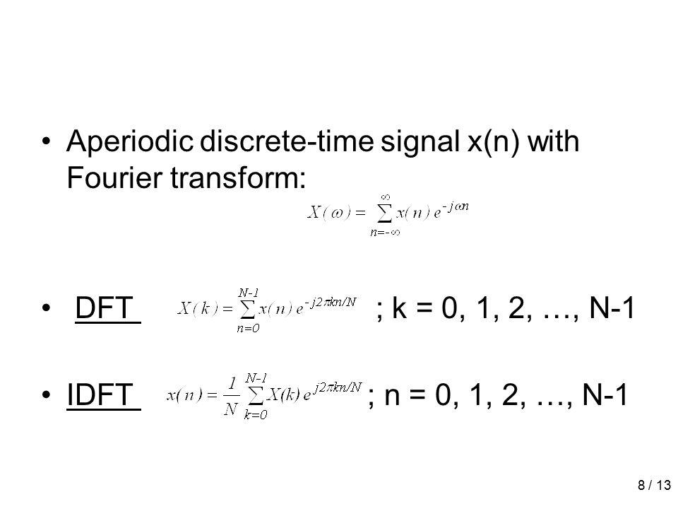 8 / 13 Aperiodic discrete-time signal x(n) with Fourier transform: DFT ; k = 0, 1, 2, …, N-1 IDFT ; n = 0, 1, 2, …, N-1