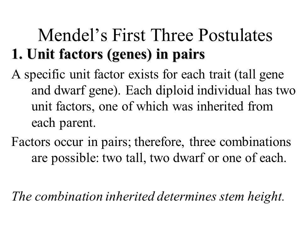 Mendel's First Three Postulates 1.