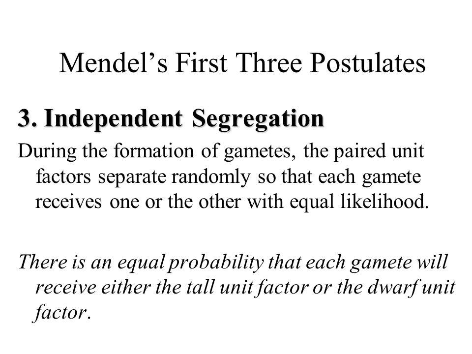 Mendel's First Three Postulates 3.