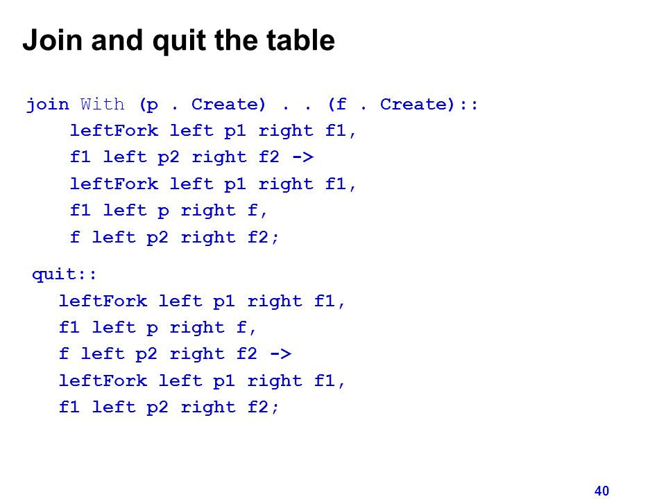 40 Join and quit the table join With (p. Create)..