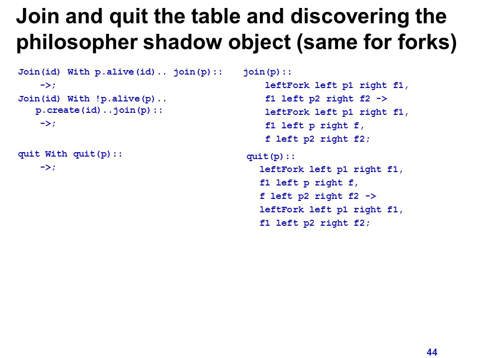 44 Join and quit the table and discovering the philosopher shadow object (same for forks) Join(id) With p.alive(id)..