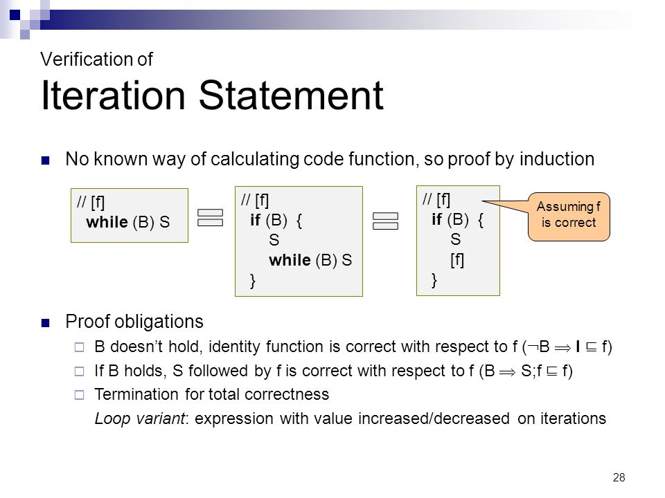 28 Verification of Iteration Statement No known way of calculating code function, so proof by induction // [f] while (B) S Proof obligations  B doesn't hold, identity function is correct with respect to f (  B  I ⊑ f)  If B holds, S followed by f is correct with respect to f (B  S;f ⊑ f)  Termination for total correctness Loop variant: expression with value increased/decreased on iterations // [f] if (B) { S while (B) S } // [f] if (B) { S [f] } Assuming f is correct