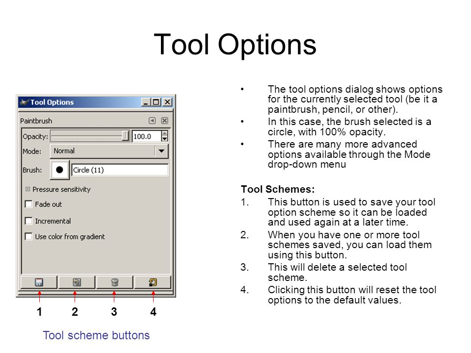 Tool Options The tool options dialog shows options for the currently selected tool (be it a paintbrush, pencil, or other).