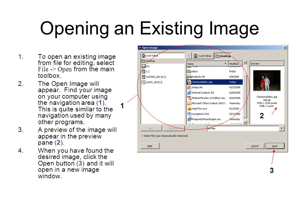 Opening an Existing Image 1.To open an existing image from file for editing, select File -> Open from the main toolbox.