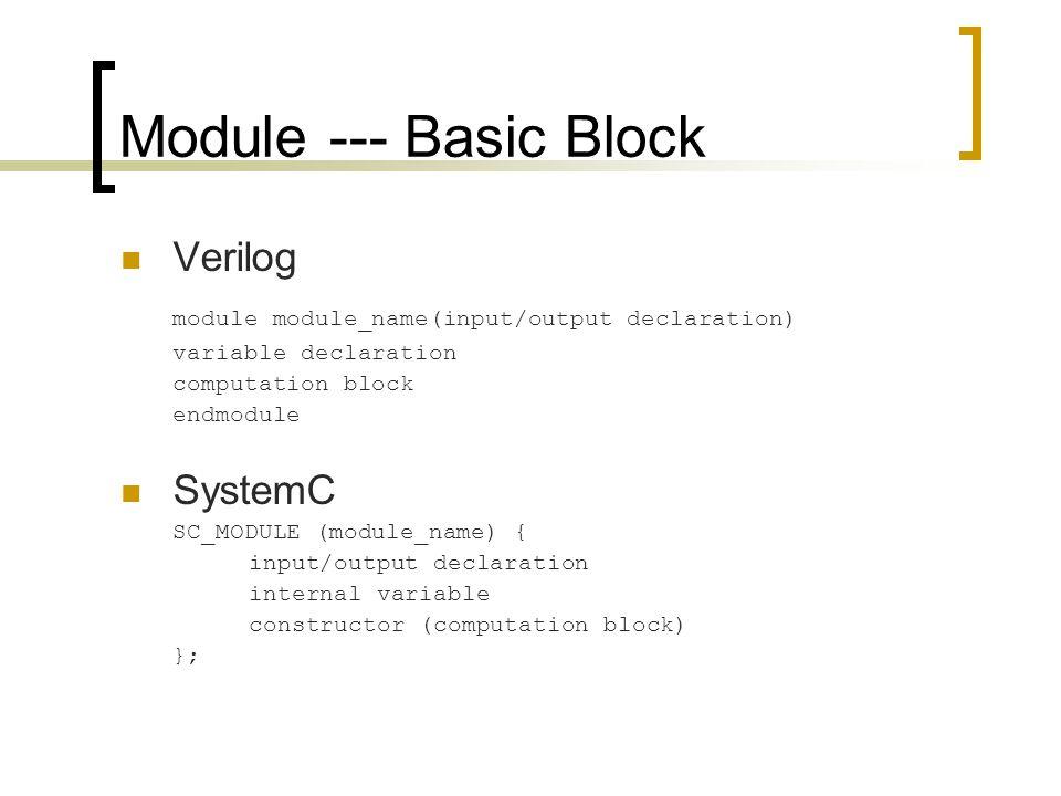 Module --- Basic Block Verilog module module_name(input/output declaration) variable declaration computation block endmodule SystemC SC_MODULE (module_name) { input/output declaration internal variable constructor (computation block) };